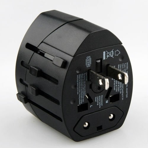 Pia International Dual USB Worldwide Adaptor(Black)