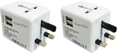 Care Case Set of 2-White Max Good Quality With 2 Usb Adapter International Universal Travel Worldwide Adaptor