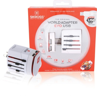 S-Kross Travel 2-Pole With Dual Usb Charger White Worldwide Adaptor