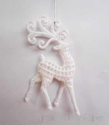 Smartkshop Christmas-White Glitter Hanging Ornaments