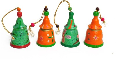 Aromagarden Wooden Christmas Bell Orange and Green(Set of 4) Hanging Ornaments