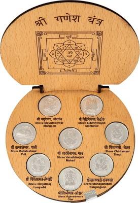 Siri Creations 999 Pure Astha Vinayaka Coins And Ganesha Big Size Silver Yantra