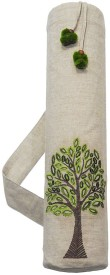 Kanyoga 100% Cotton Tree Of Life Embroidered Yoga Mat Bag (74cm x 25cm) Yoga Blocks(Beige Pack of 1)