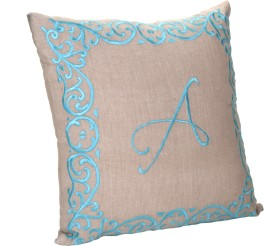 Kanyoga Cotton Monogrammed An Alphabet Embroidered Polyfill Lifestyle Cushion (41 X 41 CMS) Yoga Blocks(Multicolor Pack of 1)
