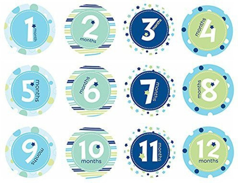 Pearhead Baby Milestone, Blue Yoyo Friction Sticker(Pack of 12)