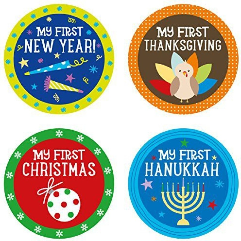 Pearhead Baby Holiday Belly Stickers with 14 Holidays Included, Multi Yoyo Friction Sticker(Pack of 4)