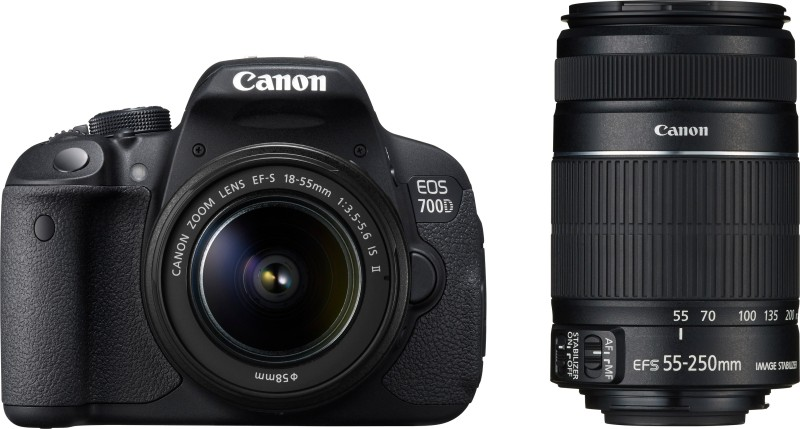 Canon EOS 700D DSLR Camera (Body with EF S18 - 55 mm IS II and EF S55 - 250 mm IS II)(Black)