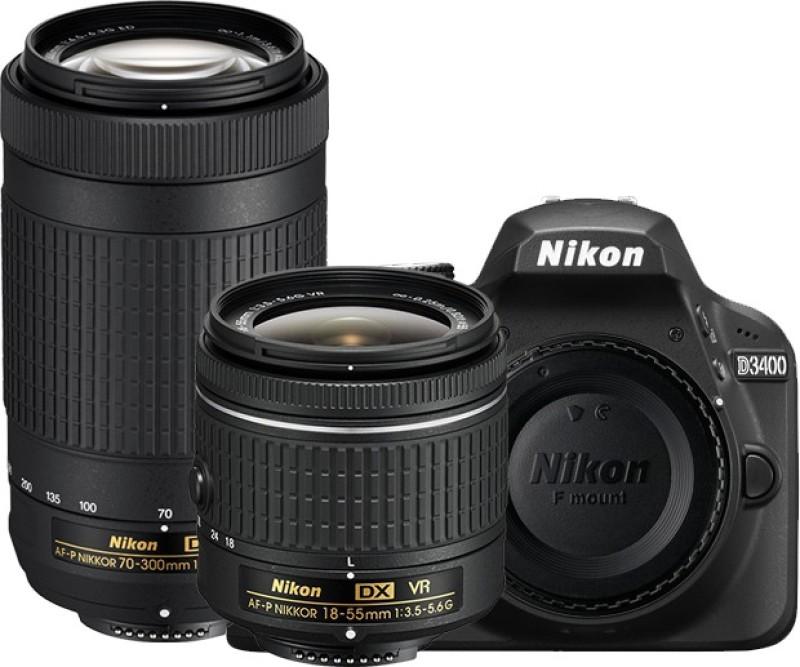 Nikon D3400 DSLR Camera with Lens AF-P DX NIKKOR 18 - 55 mm f/3.5 - 5.6G VR & AF-P DX NIKKOR 70 - 300 mm f/4.5 - 6.3G ED VR(Black)
