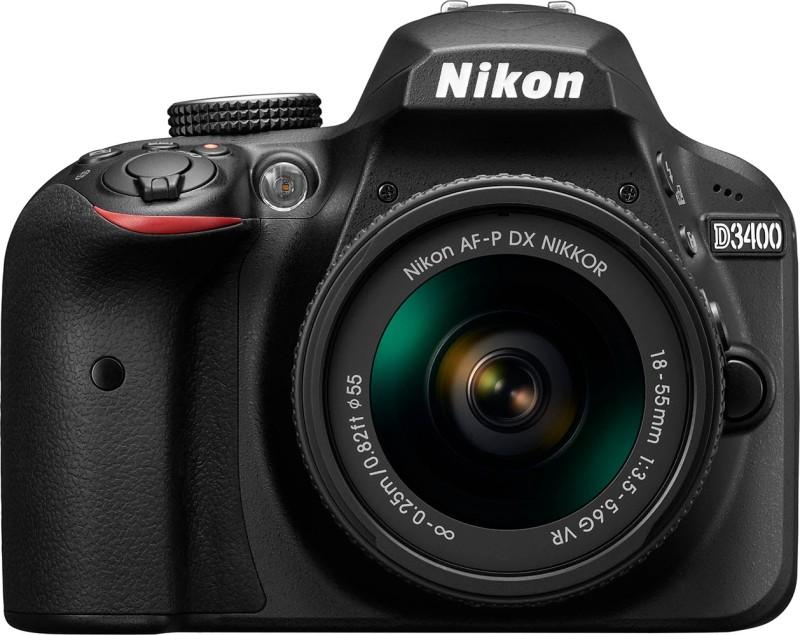 Nikon Digital Camera D3400 DSLR Camera with Kit Lens AF-P DX NIKKOR 18 - 55 mm f/3.5 - 5.6G VR(Black)