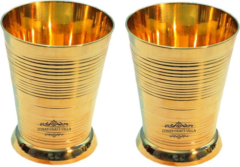 Indian Craft Villa Glass(500 ml, Gold, Pack of 2)