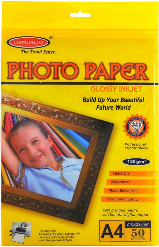 Bambalio High Glossy 130 GSM 50 Sheets A4 Photo Paper(Set of 1, White) BPG 130-50