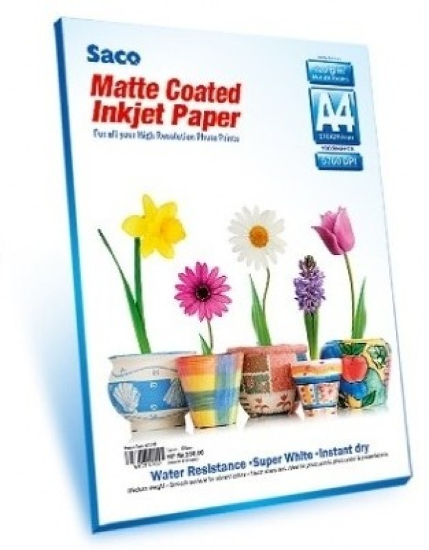 Saco Matte Coated Unruled A4 Photo Paper(Set of 100, White) Matte Coated A4 Paper - 120 GSM