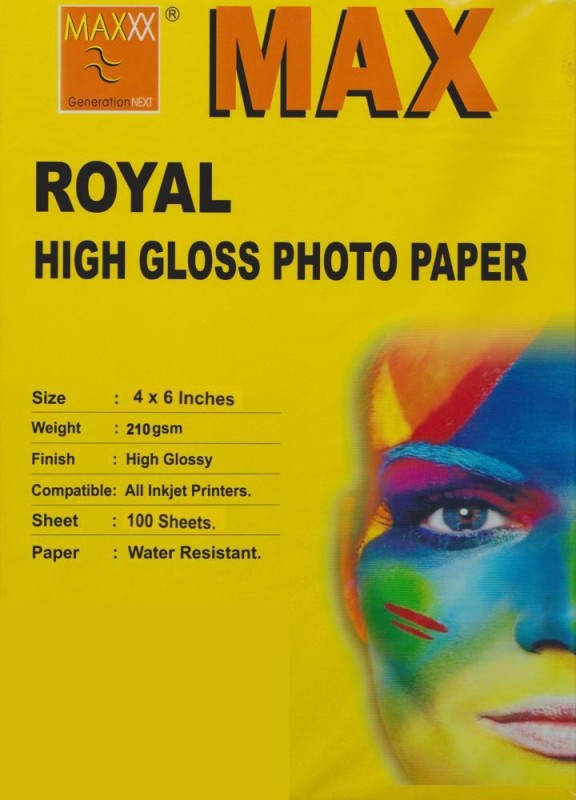 Max 4*6 Royal High Glossy 210gsm Photo Paper(Set of 1, White) High Glossy_1