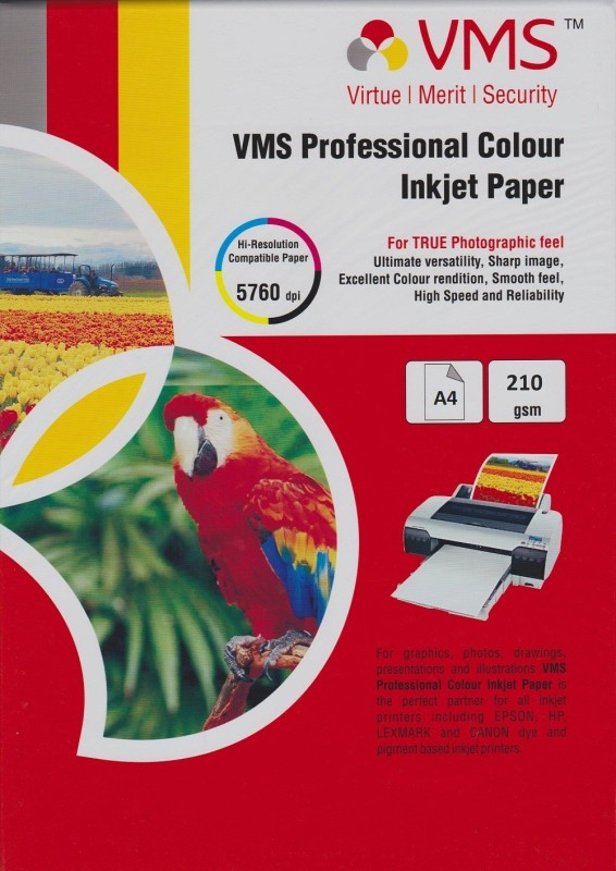 VMS A4 Professional Color Glossy 210gsm Photo Paper(Set of 20, White) Professional Color Glossy