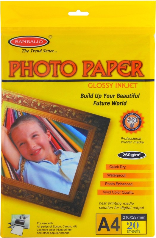 BAMBALIO Glossy unruled A4 20 Sheets Photo Paper(Set of 1, White) 260 gsm Glossy Photo Paper