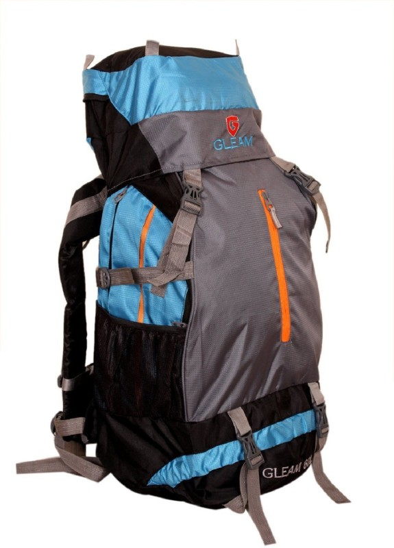 Gleam 2209 Climate Proof Mountain Campaign / Hiking / Trekking Bag / Backpack 60 ltrs Sky Blue & Grey with RAIN COVER Rucksack  - 60 L(Multicolor)