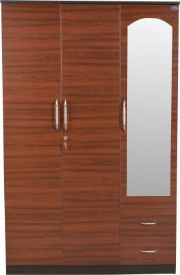 Crystal furnitech Engineered Wood Free Standing Wardrobe  Finish Color   Burmateak and Wenge, 3 Door